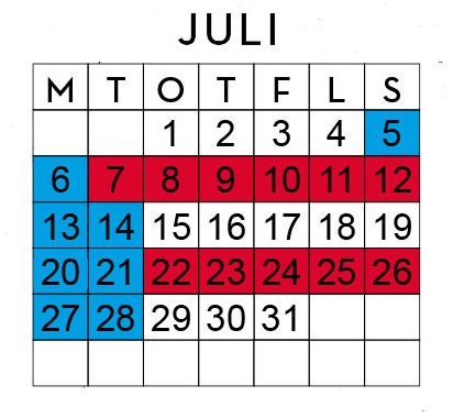 Huggtabell Juli