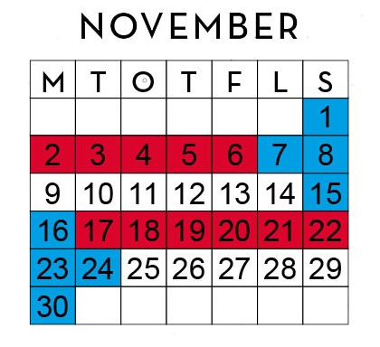 Huggtabell November