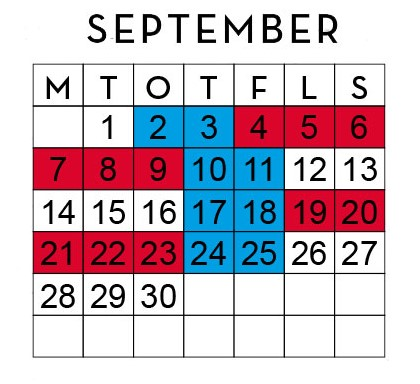 Huggtabell September