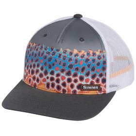 63a34bed352 Simms Artist Series Five Panel Trucker Hat - DeYoung Trout Charcoal ...