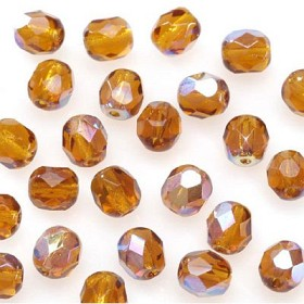 GLASS BEAD-FACET,amber 6mm