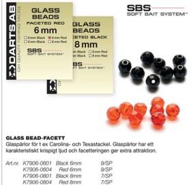 GLASS BEAD-FACET,svart 8mm