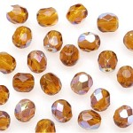 GLASS BEAD-FACET,amber 8mm