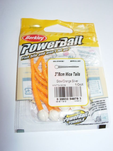 PowerBait floating micetails Glow Orange/Silver